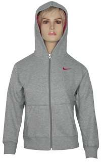 NEW GIRLS KIDS NIKE GREY PINK FLEECE FULL ZIP TRACKSUIT JOG SUIT SIZE