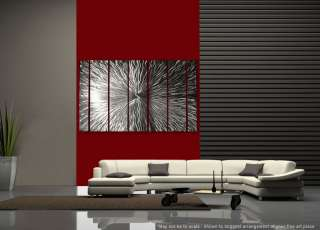 Large Modern Abstract Silver Metal Wall Art Office Decor Sculpture