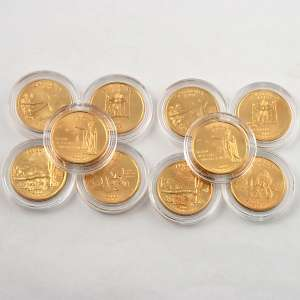 1999 2009 Complete Set of 24K Gold Plated State Quarters