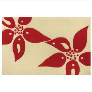 75020 Accent Petal Points Red Contemporary Rug Furniture & Decor