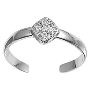 Sterling Silver Fashion Toe Ring   Clear CZ   2mm Band Width Jewelry