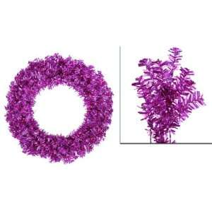 Laser Tinsel Artificial Christmas Wreath   Pink Lights