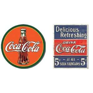 Nostalgic Coca Cola Tin Metal Sign Bundle   2 retro signs Round 30s