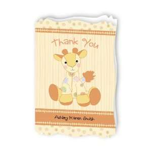 Giraffe   Personalized Baby Thank You Cards With Squiggle