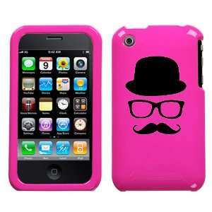 black silhouette of hat glasses mustache design on magenta