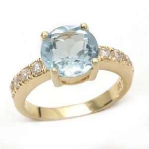 Silver Gold Plated Blue Topaz & Cubic Zirconia Ring Size5.5 Jewelry