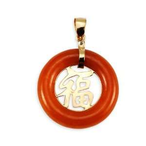 14k Yellow Gold Red Agate Carved Good Luck Pendant Jewelry