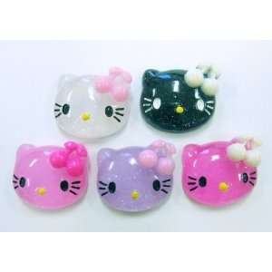 5pc Glitter Kitty Cat Flat Back Resins Cabochons fa38