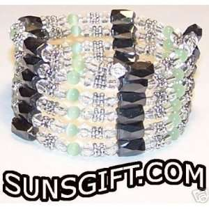 SILVER CLEAR CRYSTAL Magnetic Bracelet GREEN