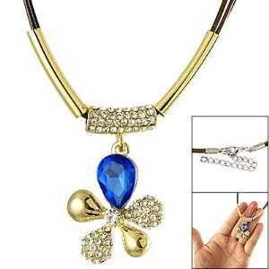 Ladies Navy Blue Crystal Detail Flower Pendant Cord Necklace Jewelry