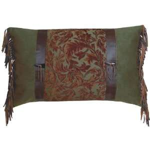 Nutmeg Leaf Fabric and Leather Pillow Shams   Pillow NOT Included
