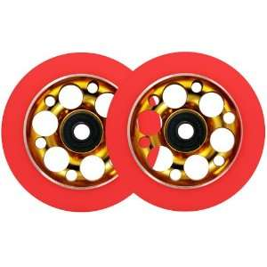 PRO LITE WEIGHT Metal Core Scooter Wheels 100mm GOLD/RED Heavy Duty