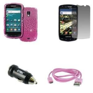 USB 2.0 Data Cable (Pink) + USB Car Charger Adapter + Screen Protector