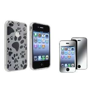 Clear Dog Paw Foot Print TPU Rubber Skin Case with FREE Mirror Screen