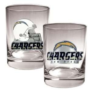 San Diego Chargers NFL 2pc Rocks Glass Set Sports