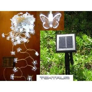 LONG 100 WHITE BUTTERFLY TWO IN ONE SOLAR STRING FAIRY LIGHTS OUTDOOR