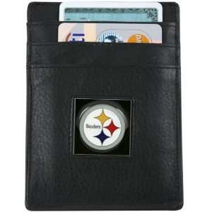 NFL Pittsburgh Steelers Black Leather Executive Card Holder & Money