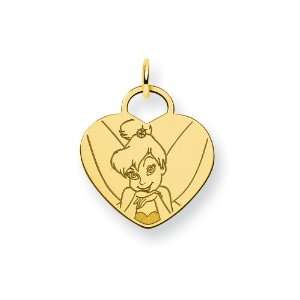 Gold Plated Sterling Silver Disney Tinker Bell Heart Charm Jewelry