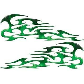 Full Color Tribal Reflective Fire Green Flame Decals Automotive