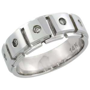 14k White Gold 5 Stone Mens Diamond Ring Band w/ 0.24 Carat Brilliant