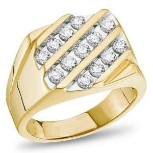 14K Yellow Gold, Mens Diamond Ring, 1.00 ctw. Jewelry