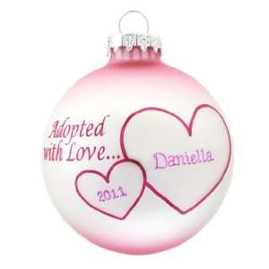 Personalized Adopted with Love   Pink Christmas Ornament