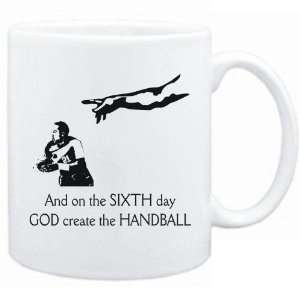 New   Sixth Day God Create The Handball  Mug Sports