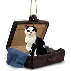 Black & White Manx Traveling Companion Cat Ornament