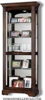 Howard Miller cherry curio Display Cabinet 4 glass shelves  680420