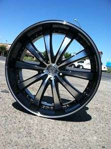 22 BLACK RIMS 5X115/120 TIRES CHRYSLER 300 DODGE NEW