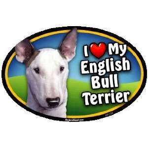 Oval Car Magnet   I Love My English Bull Terrier
