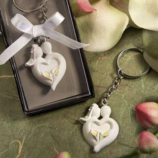 Bride & Groom Calla Lily Design Favor Saver Keychain Wedding Favors