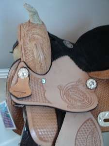 / Lt OiL BLACK kid Oak leaf Western Trail Barrel Racer Saddle Showman
