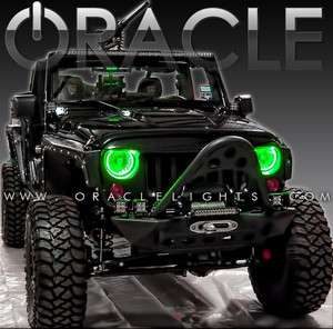 Wrangler JK ORACLE Headlight HALO Kit  GREEN LED/SMD Rings Off Road