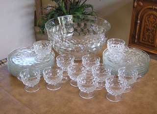 Indiana Glass Whitehall Punch Bowl Snack Plate Cup Set